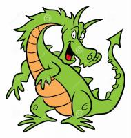 Green dragon cartoon illustration 11670790